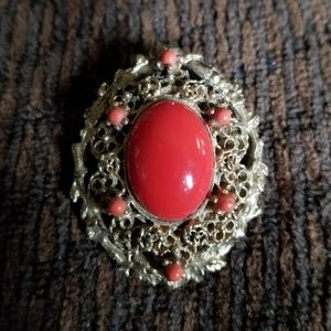 Antique Goldtone Brooch with Large Coral